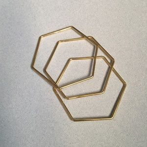 Set of 3 Gold Hexagon Bracelets